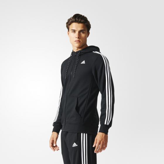 мужская толстовка adidas sport essentials 3-stripes fleece hoodie